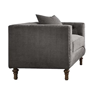 Acme Furniture ACME Sidonia Gray Velvet Chair with 1 Pillow