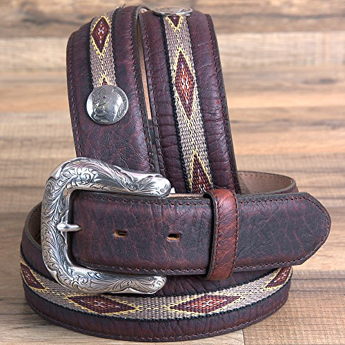 Justin 32 MENS NORHTERN BISON LEATHER BELT W/NATIVE AMERICAN STITCHING BROWN