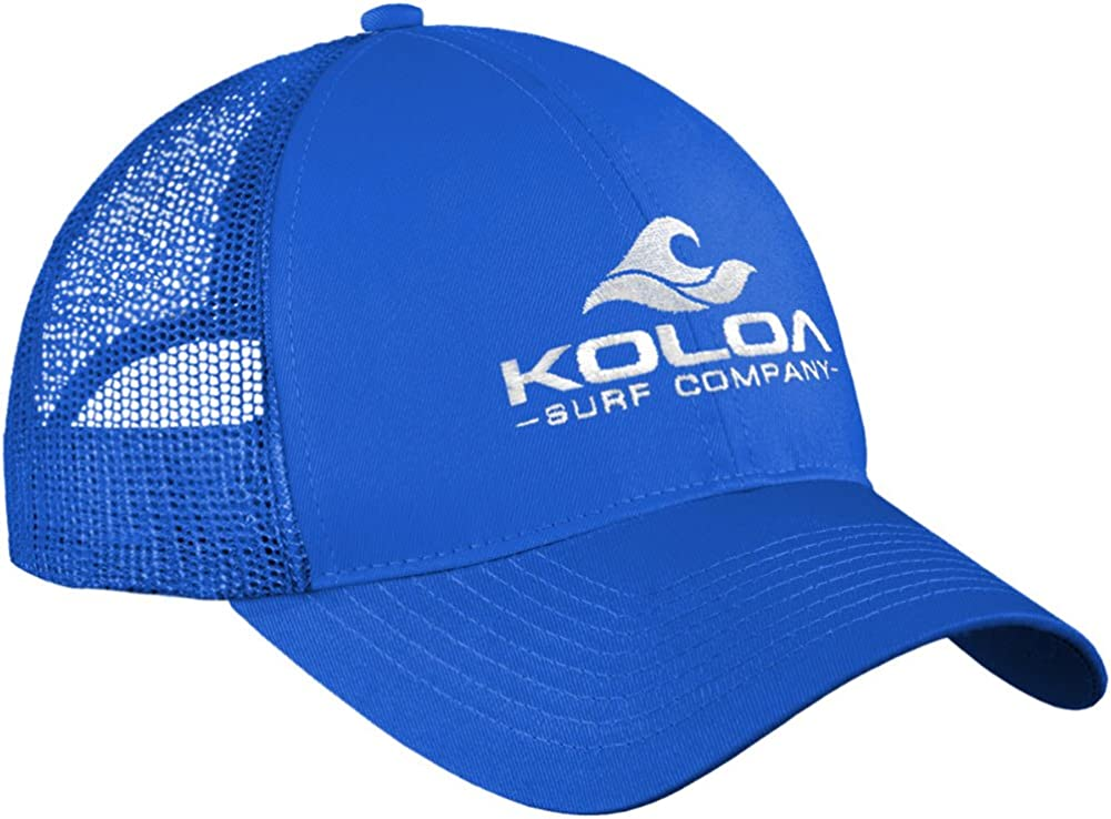 "Koloa Surf Wave Logo""Old School"" Curved Bill Mesh Snapback Hat-Royal/w"