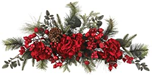 Nearly Natural 4679 Holiday Hydrangea Swag, 30-Inch, Red/Green