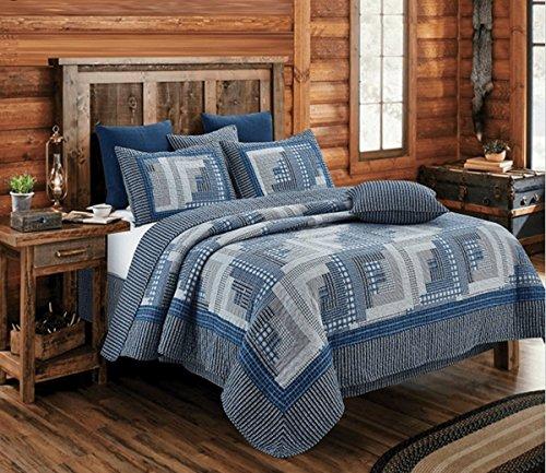 Montana Cabin Blue/Gray Quilt Set King