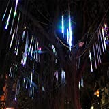 JULED Meteor Shower Rain Lights,Drop/Icicle Snow Falling Raindrop 30cm 8 Tubes Waterproof Cascading lights for Wedding Xmas Home Decor (Multi-color)