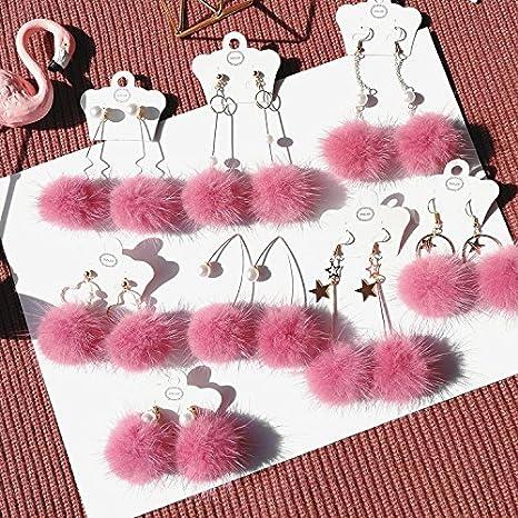Amazon Flower Girl Pink Mink Ball Earrings Earrings Sen Women