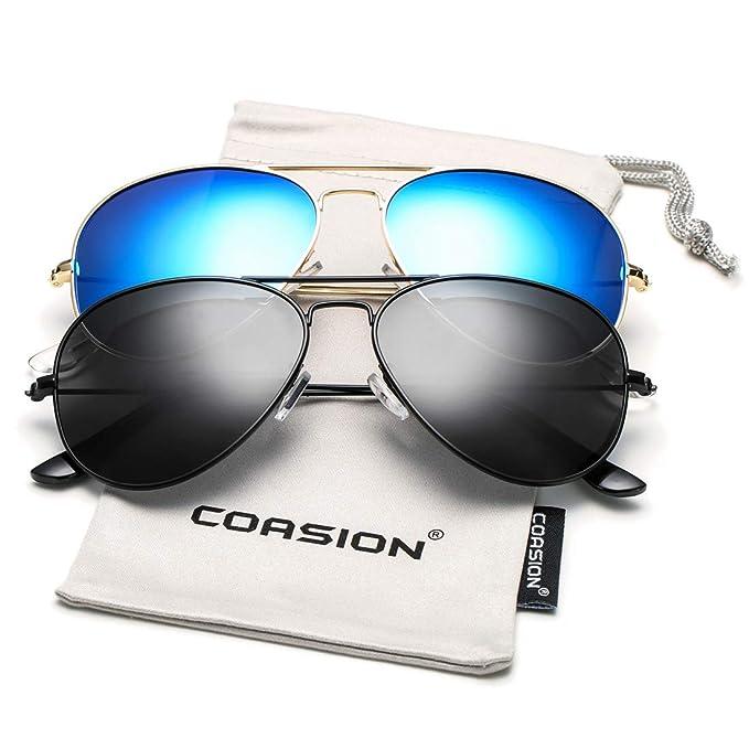 eaf41d65605c COASION Classic Polarized Aviator Sunglasses for Men Women Mirrored UV400  Protection Lens Metal Frame (Black