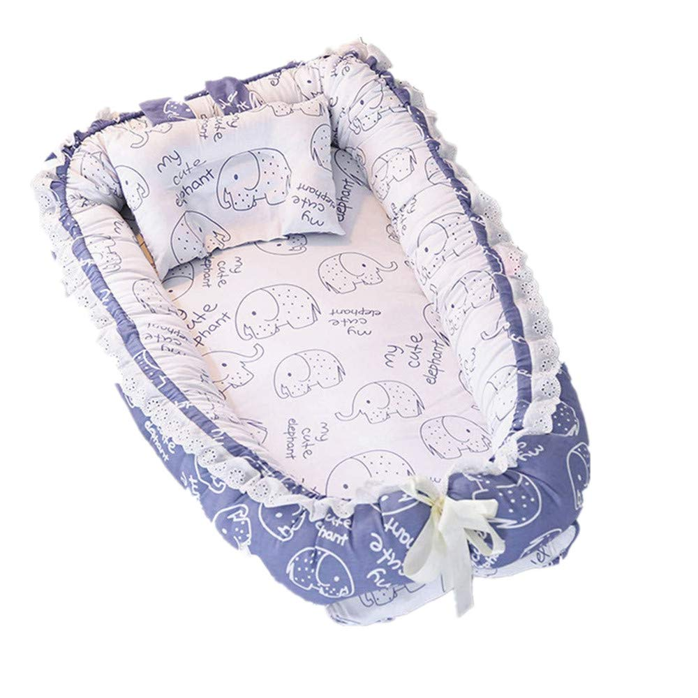 Abreeze Ruffled Baby Bassinet for Bed -Blue Elephant Baby Lounger - Breathable & Hypoallergenic Co-Sleeping Baby Bed - 100% Cotton Portable Crib for Bedroom/Travel Suitable for 0-24 Month