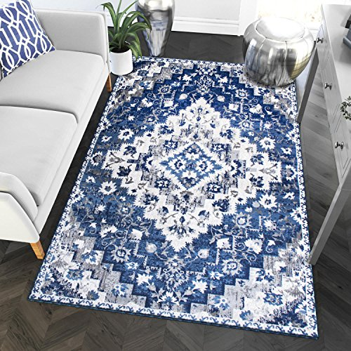 Southwestern Blue Transitional Diamond Rugs 5x7 Living Room Trendy Carpet, 5-Feet 3-Inch by 7-Feet - Rug Area Transitional White