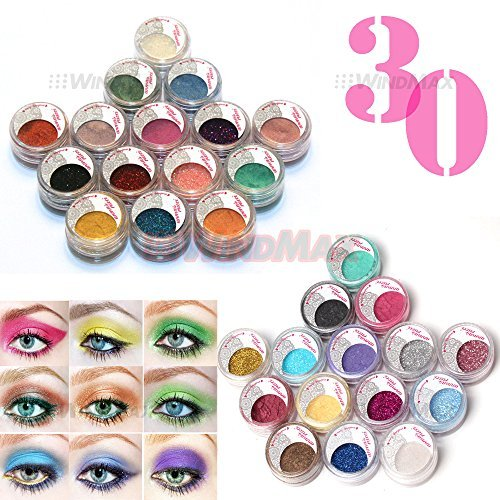 US Seller! Brithday Gift! Brand New 30 Pieces Cold Smoked Warmer Glitter Shimmer Pearl Loose Eyeshadow Pigments Mineral Eye Shadow Dust Powder Makeup Party Cosmetic Kit CE# by WindMax