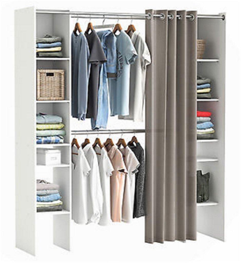Offener kleiderschrank vorhang  Amazon.de: CRAVOG Begehbarer Kleiderschrank Garderobenschrank mit ...