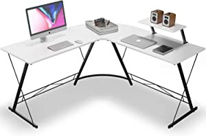 L Shaped Desk Home Office Desk with Round Corner Computer Desk with Large Monitor Stand Desk Workstation,White