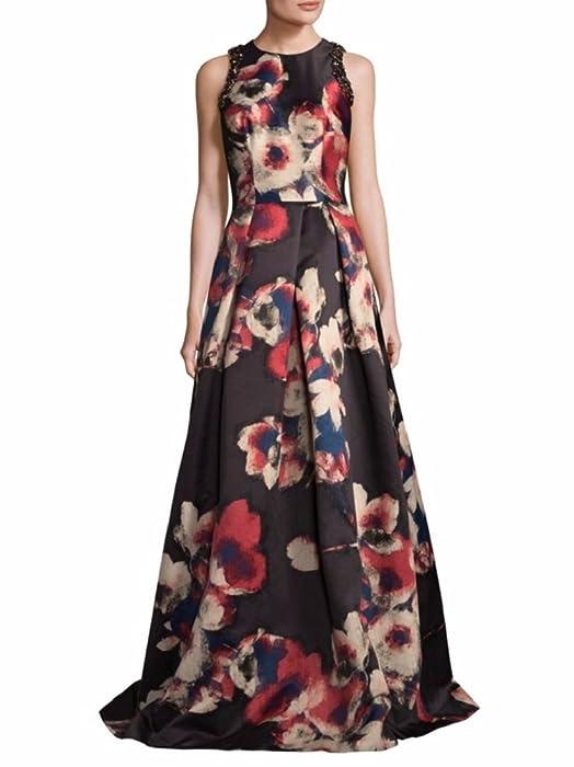 David Meister Women\'s Sleeveless Floral Evening Gown 14 Black Multi ...