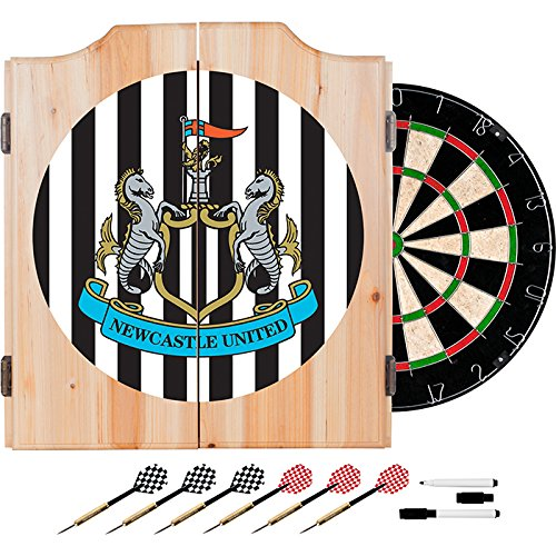 Premier League Newcastle United Football (Soccer) Club Design Deluxe Solid Wood Cabinet Complete Dart Set by TMG