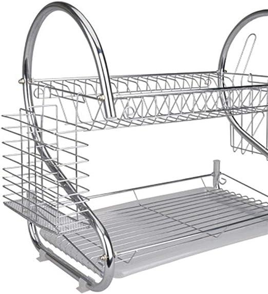 Amazon Com Dish Drying Rack 2 Tier Dish Rack And Drain Board 21