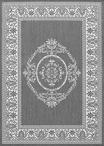 - Couristan 1078/3012 Recife Antique Medallion/Grey-White 5-Feet 3-Inch by 7-Feet 6-Inch Rug