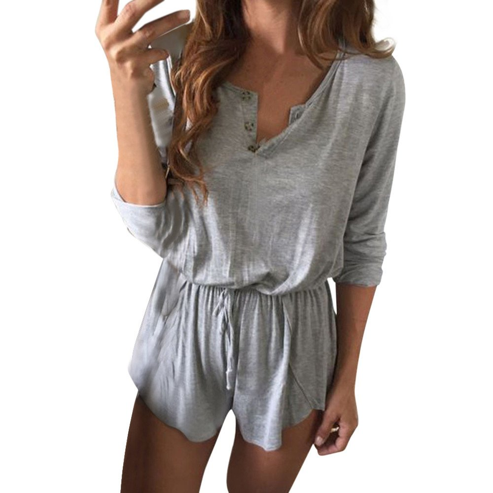 838c59c59c51 Amazon.com  TIMEMEANS Women Jumpsuit Sexy Playsuits V-Neck Beach Overalls  Frock Loose  Clothing