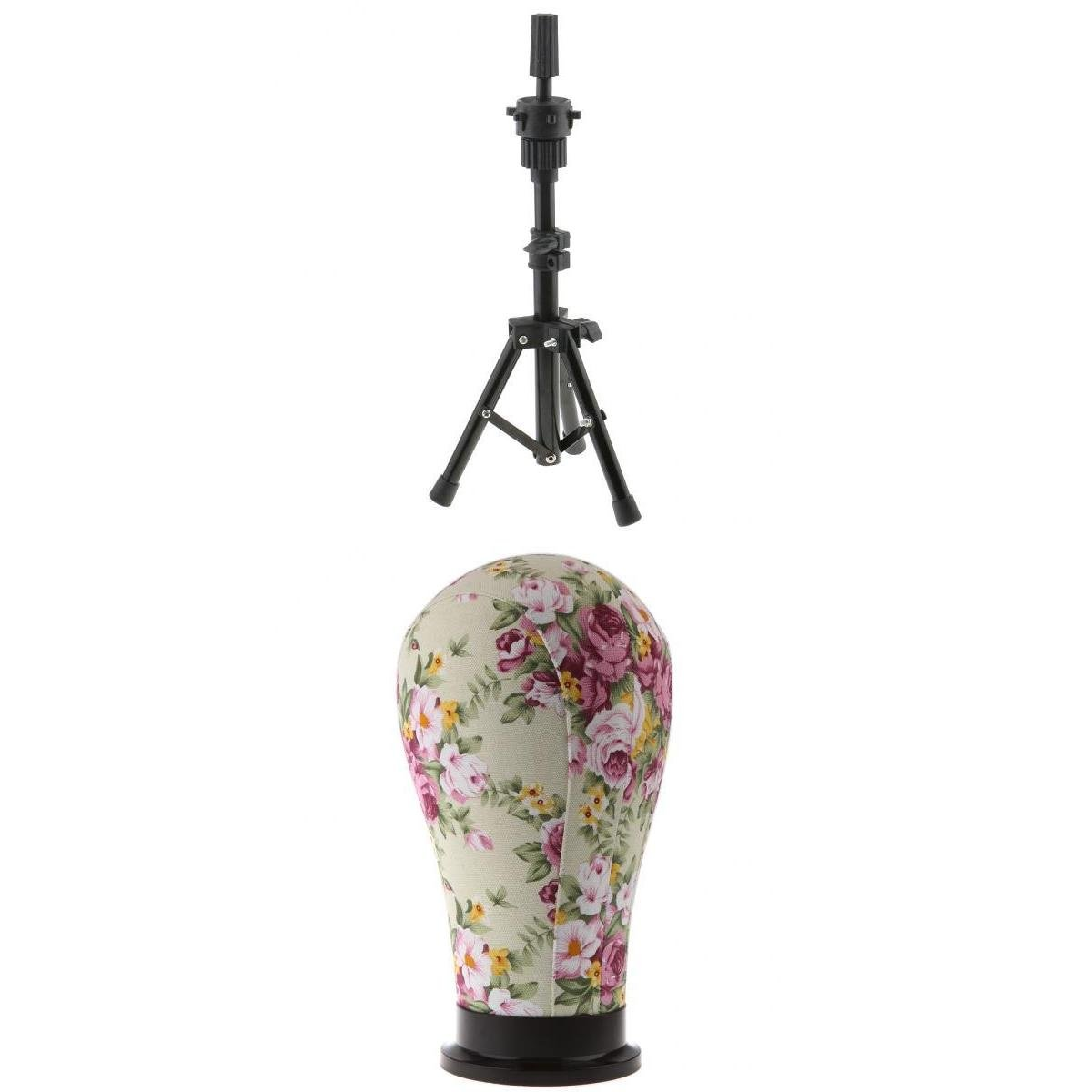 D DOLITY Adjustable Wig Head Stand Tripod Holder Mannequin Tripod for Hairdressing Training with 21 inch Wigs Making Cork Canvas Block Mannequin