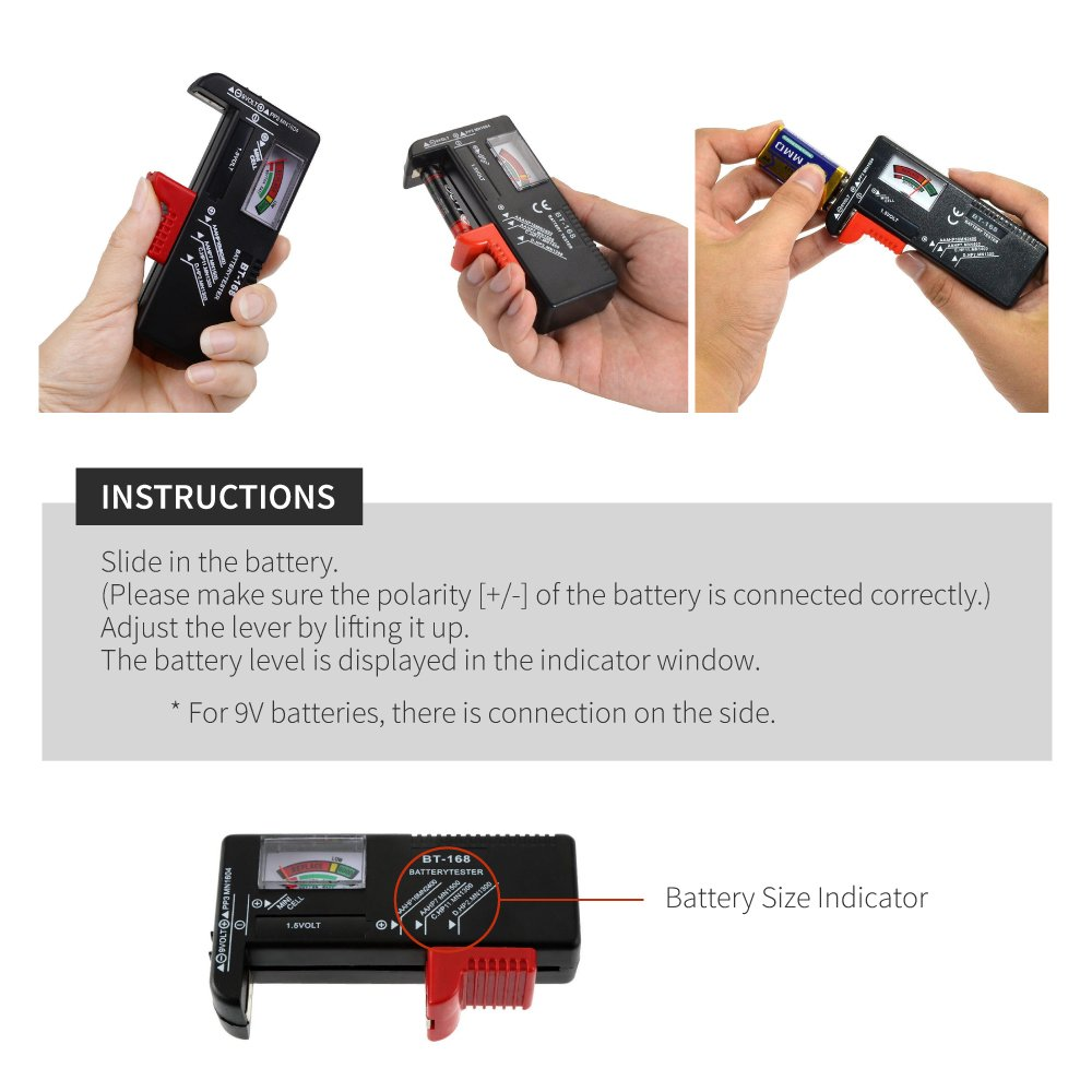 Accurate and Portable Battery Checker for AA AAA C D 9V 1.5V and Button Cell Batteries RED SHIELD Universal Battery Tester