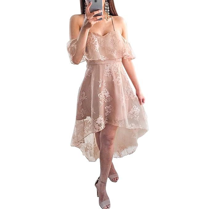 ZKOOO Camisola Vestidos Cortos de Cóctel Mujeres Una Línea Encaje Vestido para Bodas Elegante Sin Respaldo