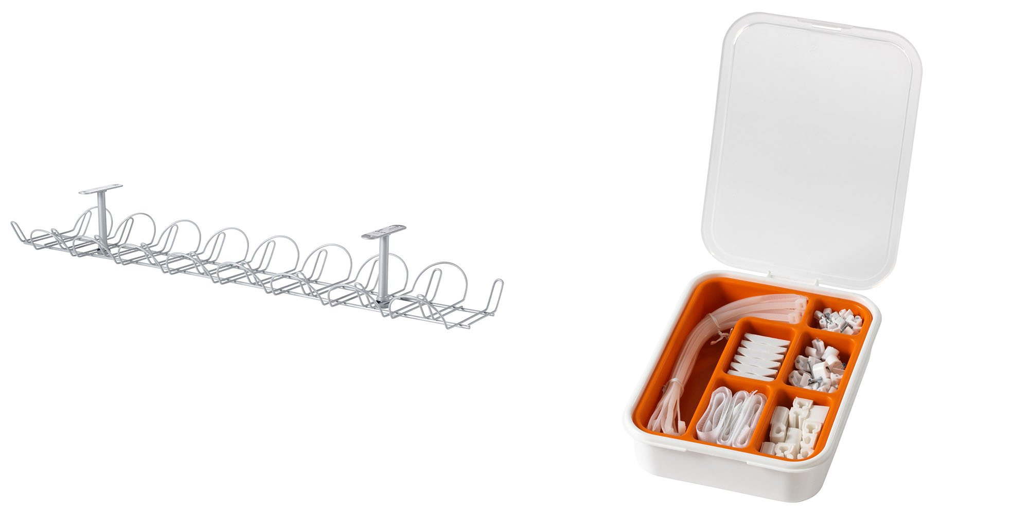 Ikea Cable Management Bundle Includes - Two Ikea Signum Cable Management Horizontal (Silver, 27 ½'') and One Ikea Fixa (114 Piece Cable Management Set)
