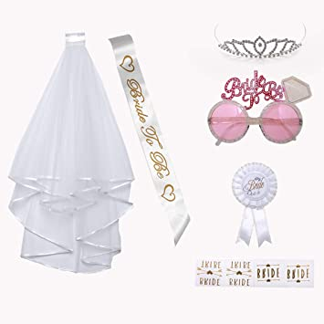 Bachelorette Party Favors Gold Bride To Be Veil Wedding Girls Hen Party Decor UK