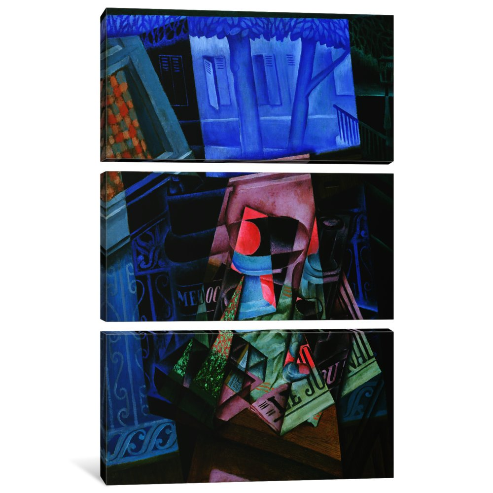 Place Ravignan Canvas Print by Juan Gris iCanvasART 3 Piece Still Life Before an Open Window 60 x 40//1.5 Depth