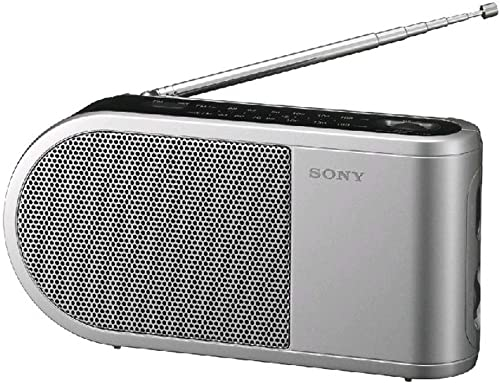 Sony All in One Compact Design Pocket Size Portable AM FM Radio with Built-in Speaker, Earphone Jack, LED Tuning Indicator Carry Strap