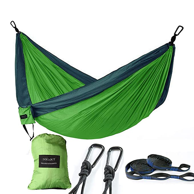 SOULOUT Double Camping Hammock - Lightweight Nylon Portable Parachute Hammocks for Backpacking, Camping, Travel, Beach, Yard.