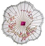 Luna Bazaar Cherry Blossom Paper Parasol (33-Inch, Scalloped Edge) - Chinese/Japanese Paper Umbrella - For Weddings and Personal Sun Protection