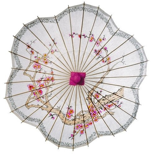 Vintage Style Parasols and Umbrellas Luna Bazaar Cherry Blossom Paper Parasol (33-Inch Scalloped Edge) - Chinese/Japanese Paper Umbrella - For Weddings and Personal Sun Protection $19.99 AT vintagedancer.com