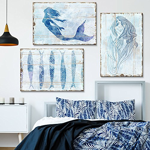 wall26 3 Panel Canvas Wall Art - Rustic Style Mermaid and Fish - Giclee Print Gallery Wrap Modern Home Decor Ready to Hang - 16