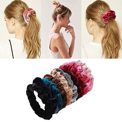 10 pezzi elastici per capelli Goldden Rule Vistoso Velvet Scrunchy elastici per  capelli elastici per donne 4380367abe3f
