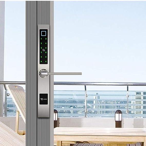 LNDDP App Bluetooth WiFi Card Smart Biometric Fingerprint Lock para Puerta corrediza Vidrio Aluminio, Todas Las Puertas Madera y Metal, 4 Formas desbloquear: Amazon.es: Deportes y aire libre