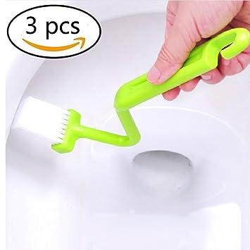 curvado Aseo plástico Cepillo de limpieza WC Esquina del ajuste (3 piezas): Amazon.es: Hogar