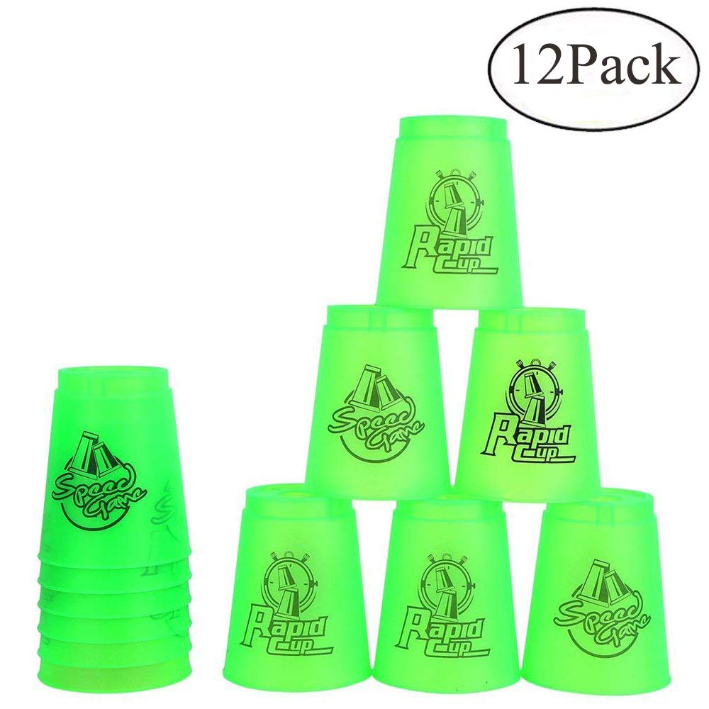 Bestie-Gear Quick Stacks Cups, Sports Stacking Cups Speed Training Set of 12 with Carry Bag (Green) by Bestie-Gear