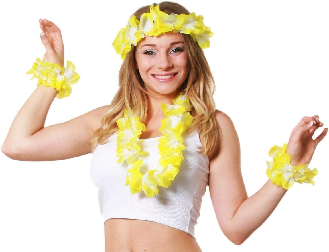 2X BRACESLET BLUE 4 PIECE HAWAIIAN LEI SET IN 8 COLOURS FANCY DRESS ACCESSORY FLOWER GARLAND 1X FLOWER 18 INCH NECKLACE 1X FLORAL HEADBAND