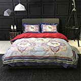 2000T Pima Cotton Digital Printing Duvet Cover Set 4 pieces Floral Styleextra queen^^^light blue with dark blue