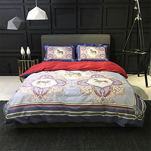 2000T Pima Cotton Digital Printing Duvet Cover Set 4 pieces Floral Styleextra queen^^^light blue with dark blue by YOUXIMAKE (Image #9)