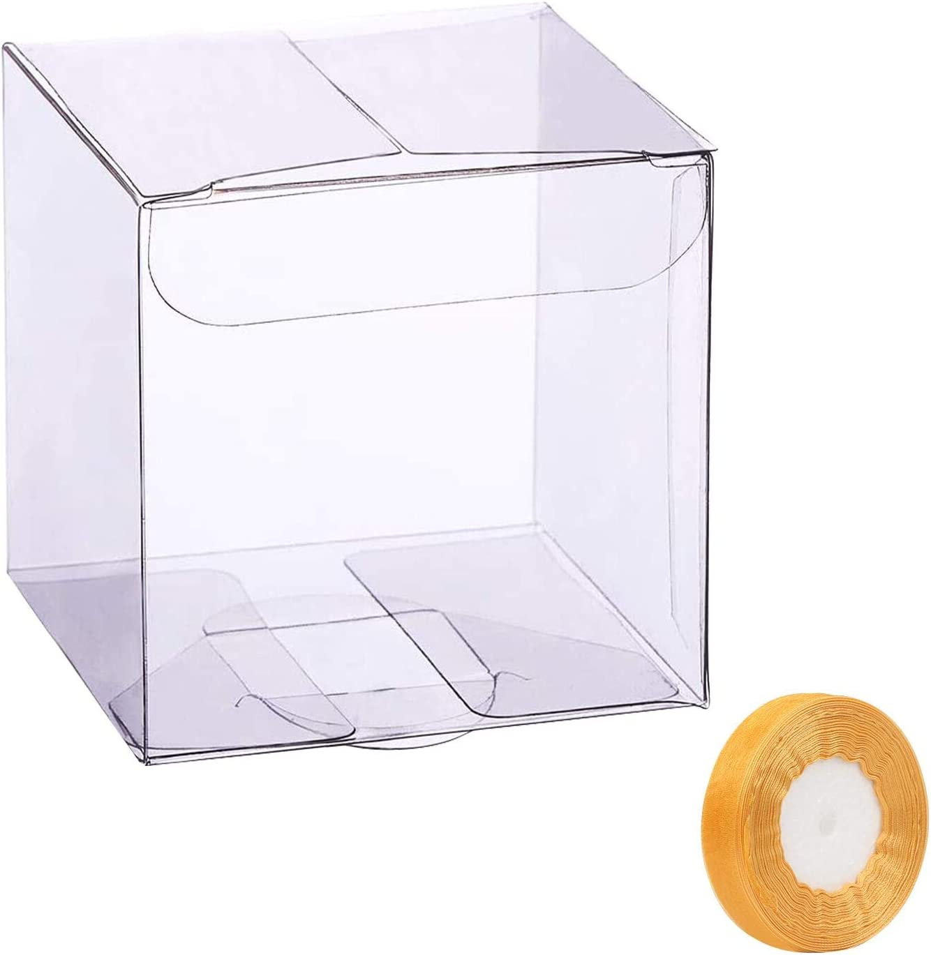 LAITER 20 Pcs Caja Transparente de Embalaje Boda Caja Cubo Transparente Caja Transparente de Regalo Caja Plegable de PVC para Dulce Caramelos Flor para Fiesta Cumpleaños 7x7x7cm (+Cinta de Seda)