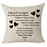 #3: Best gifts to sisters we are best friends forever friends Throw Pillow Cover Cushion Case Cotton Linen Material Decorative 18
