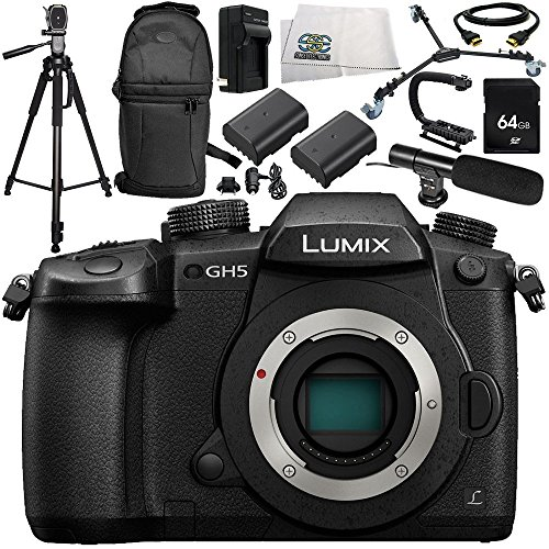 - Panasonic Lumix DC-GH5 Mirrorless Micro Four Thirds Digital Camera 13PC Accessory Bundle – Includes 64GB SD Memory Card + More - International Version (No Warranty)