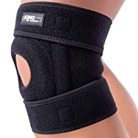 Patella Knee Brace for Arthritis Pain and Support with Side Stabilizers for Meniscus Tear, Women, Men, Acl, Running, MCL, Tendonitis, Athletic, LCL - Adjustable Neoprene Open Knee Sleeve -Black