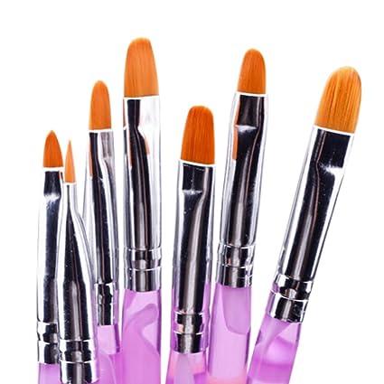 NACOLA - Juego de 7 pinceles para uñas, acrílico, uñas, uñas postizas: Amazon.es: Belleza