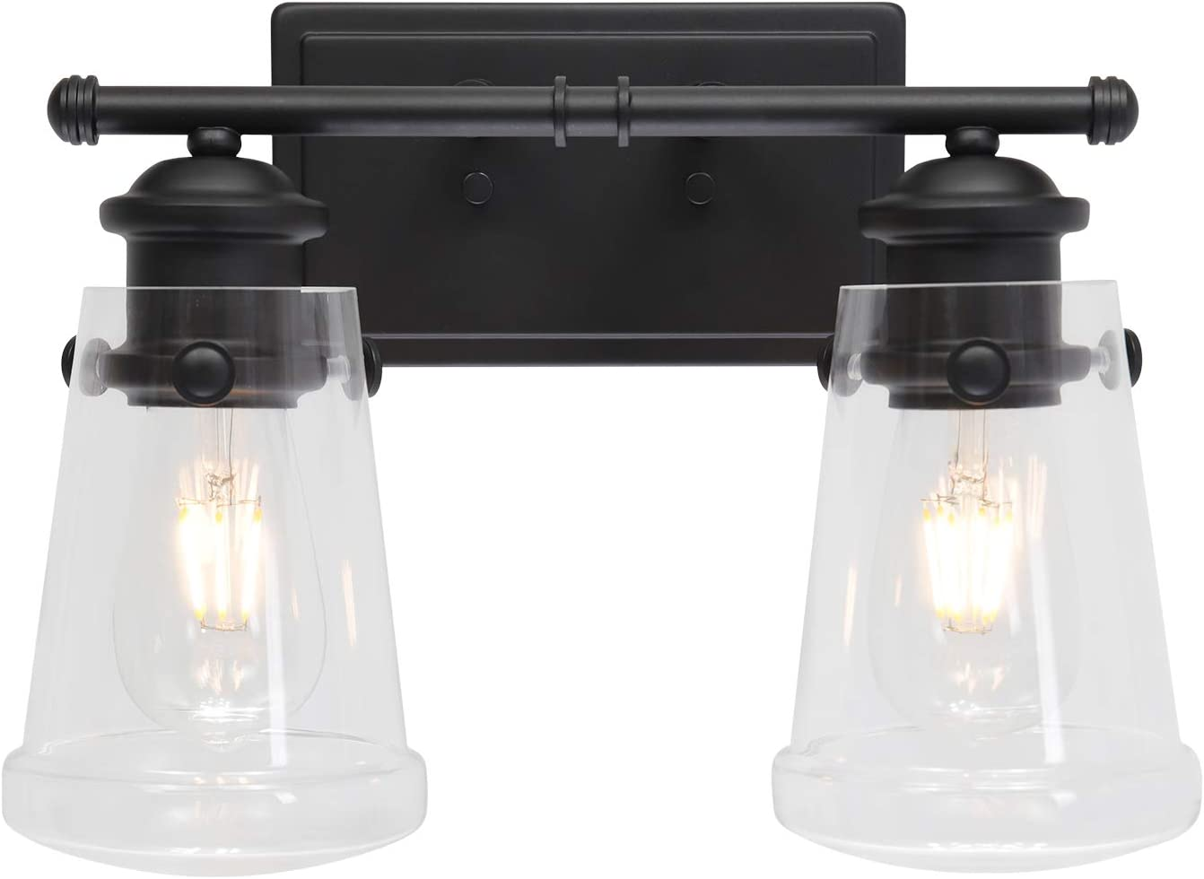 YAOHONG 2-Lights Wall Sconce Vanity Lighting Bathroom Lamp in Black with Clear Glass Shades Wall Mounted Light Fixtures for Bedroom Stairs and Kitchen