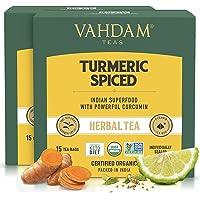 VAHDAM, Bio kurkuma przyprawa herbata ziołowa (30 torebek herbaty) | mieszanka proszku kurkumy i świeżych przypraw…
