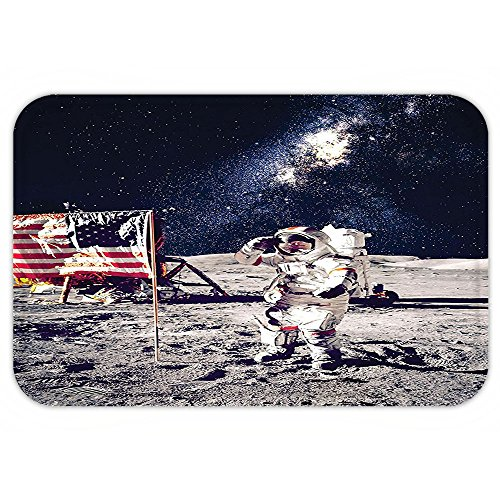 Dog Spaceman Costume (Kisscase Custom Door MatOuter Space Decor American Spaceman on Moon Future Solar Discovery in Deep Technology View Blue Grey)