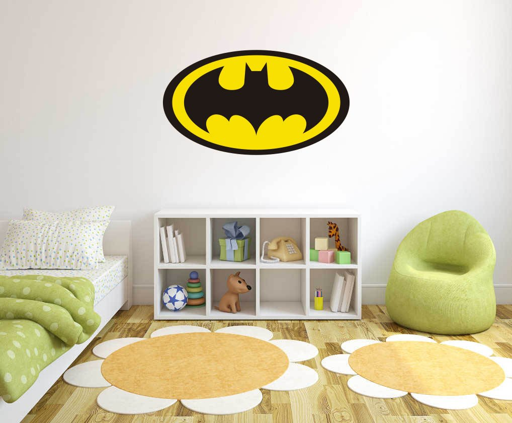 Logo Batman - Wall Decal for Home Nursery Decoration (Wide 30''x17'' Height Inches)