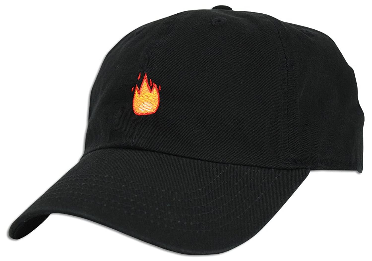 Fire Emoji Baseball Cap Curved Bill Dad Hat 100% Cotton Lit Hot Flame Solid NEW