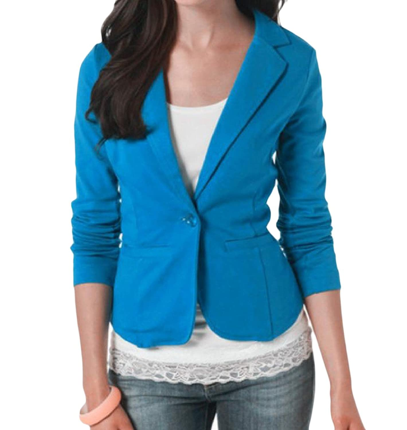 Abetteric Womens Basic Solid Notch Lapel Patch OL Blazer Suit Coat Top