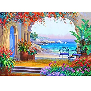 Birdfly Partial Drill Cross Stitch Kits 5D DIY Crystal Diamond Magnificent Scenery Painting Kits for Adults Children (B)
