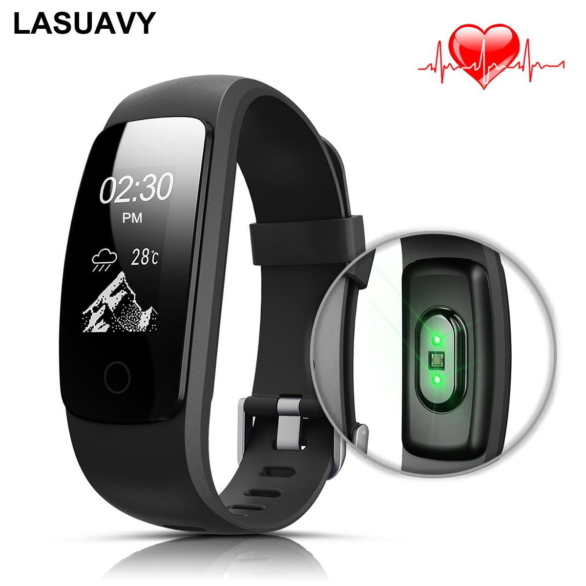 lasuavy fitness tracker mit herzfrequenz armbanduhr. Black Bedroom Furniture Sets. Home Design Ideas