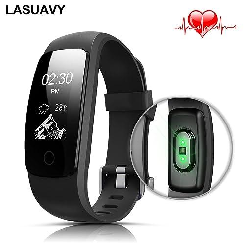 LASUAVY Fitness Tracker mit Herzfrequenz Fitness Armbanduhr Wasserdicht Armbänder Damen Herren Android IOS